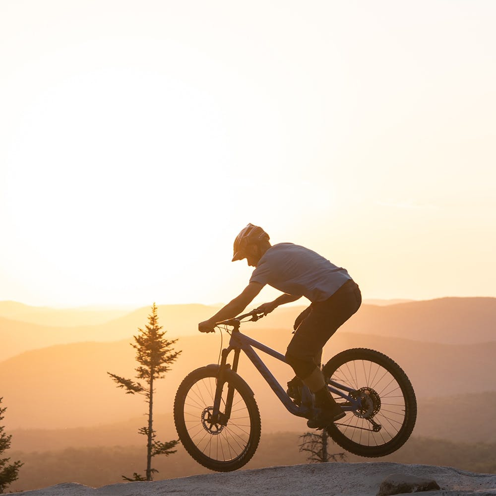 Mountain Biker riding in the sunset