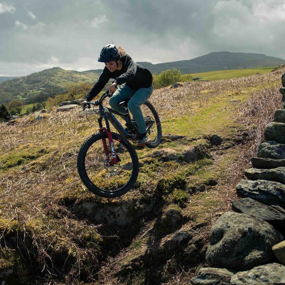 Veronique Sandler on mountain bike trails on the Bronson
