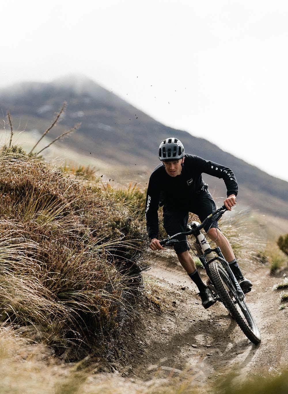 Ben Hildred riding his Tallboy mountain bike in the desert