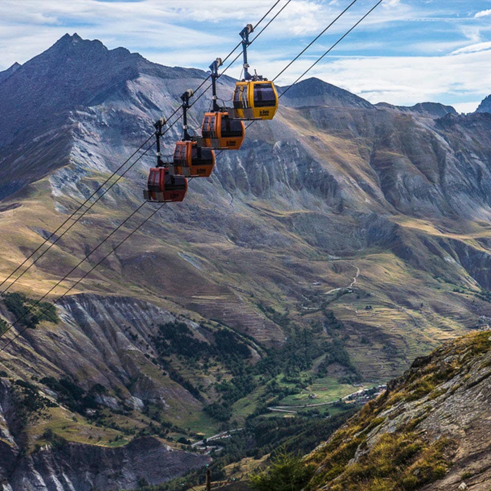 Gondola Cabs in the mountains of La Grave, France
