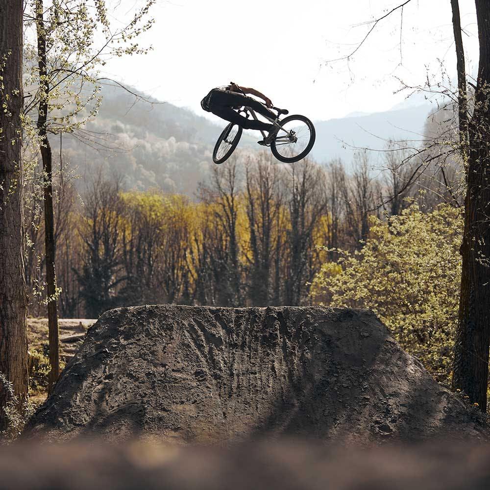 Mountain biker whipping the Jackal