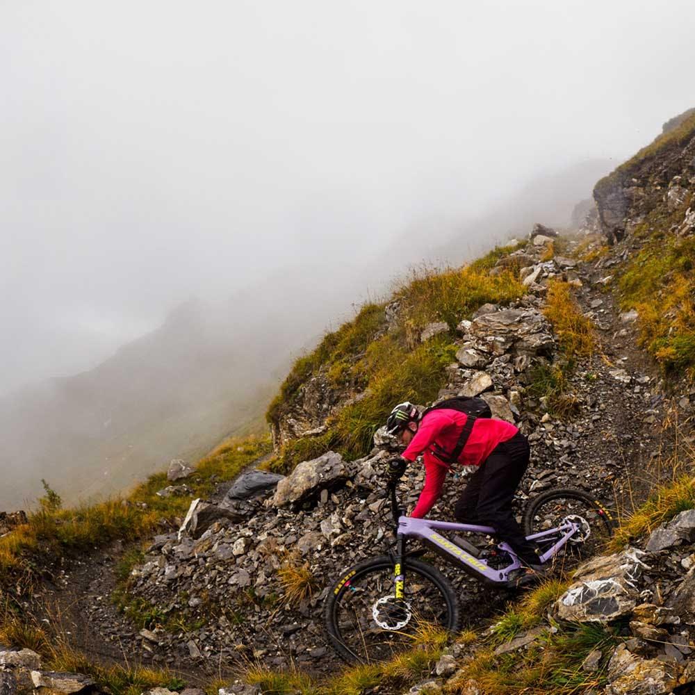 Mountain biking in fog
