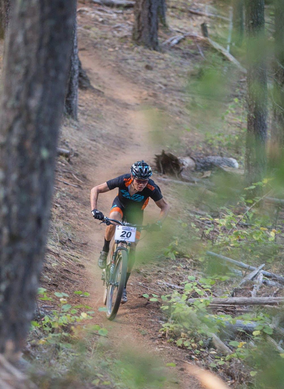 Josh Tostado racing his mountain bike