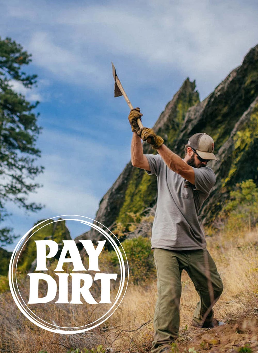 Swinging a axe while building trails with Sierra Buttes Trail Stewardship