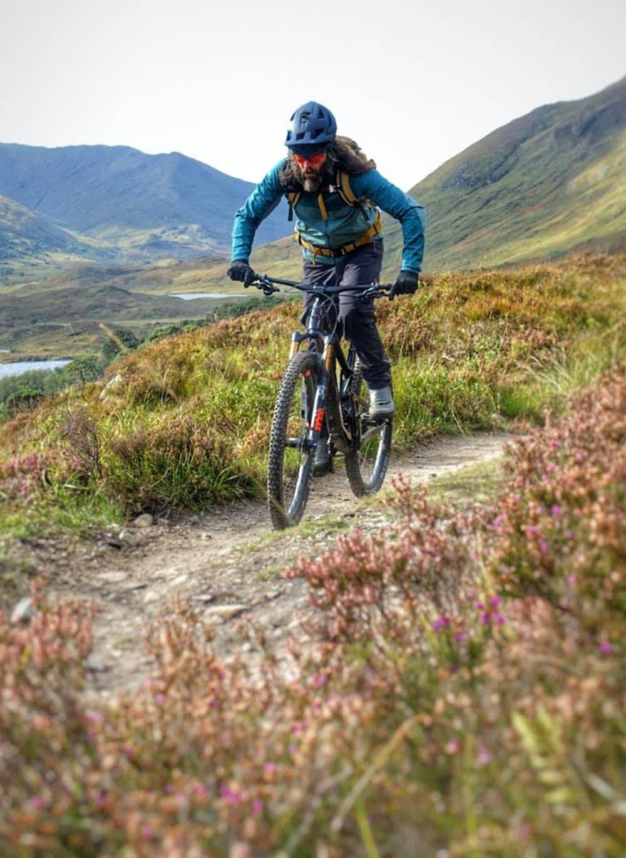 Andy McKenna riding his mountain bike in Scotland