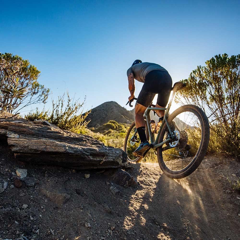 Rider climbing hill on Stigmata