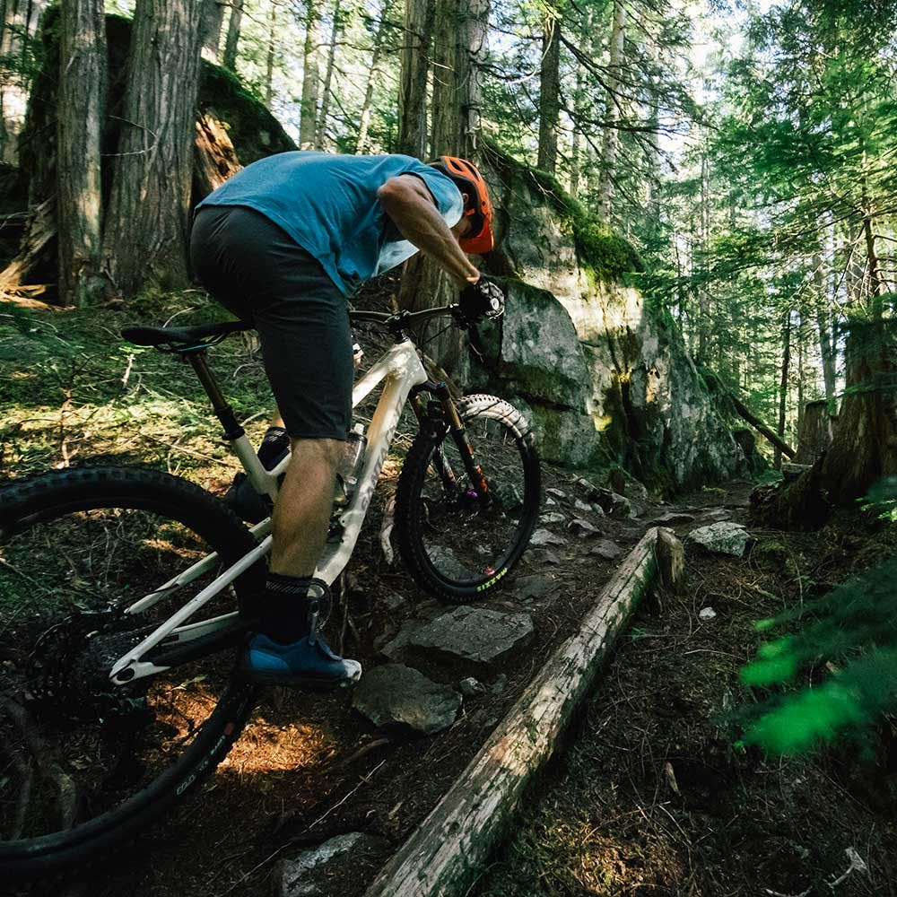 Riding the Tallboy in the forest