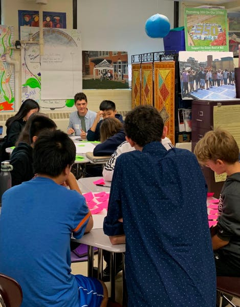 Students sitting at their desks with post-it notes in front of them