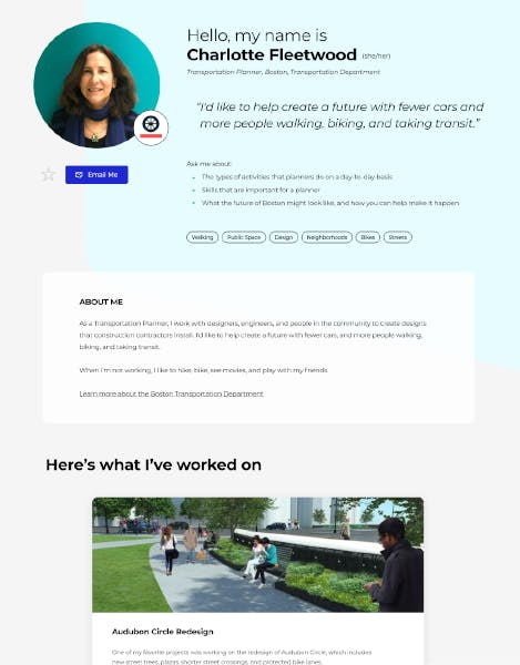 Student Action Portal profile detail page for Charlotte Fleetwood