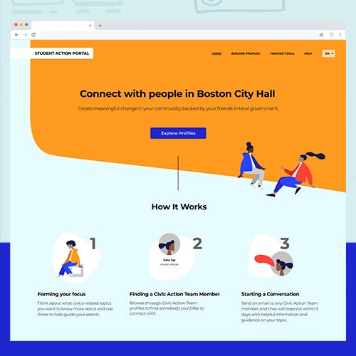 """Close-up of Student Action Portal Homepage showing the title """"Connect with people in Boston City Hall"""""""