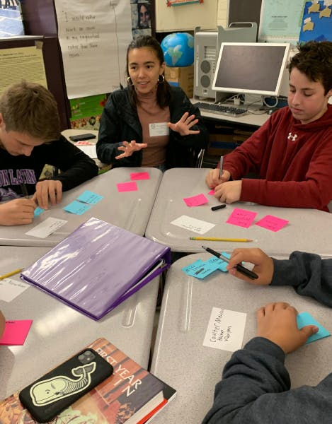 A Scout Labs team member leading a conversation at a table of four teenage students who are each writing down ideas on post-it notes