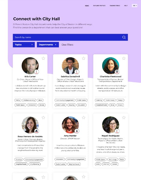 Student Action Portal profile listing page showing 6 different profile cards with different people's images on them