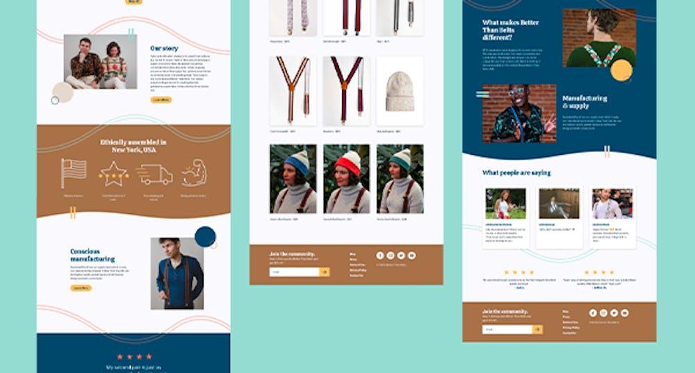 Fulll-page Screenshots of Better Than Belts Website