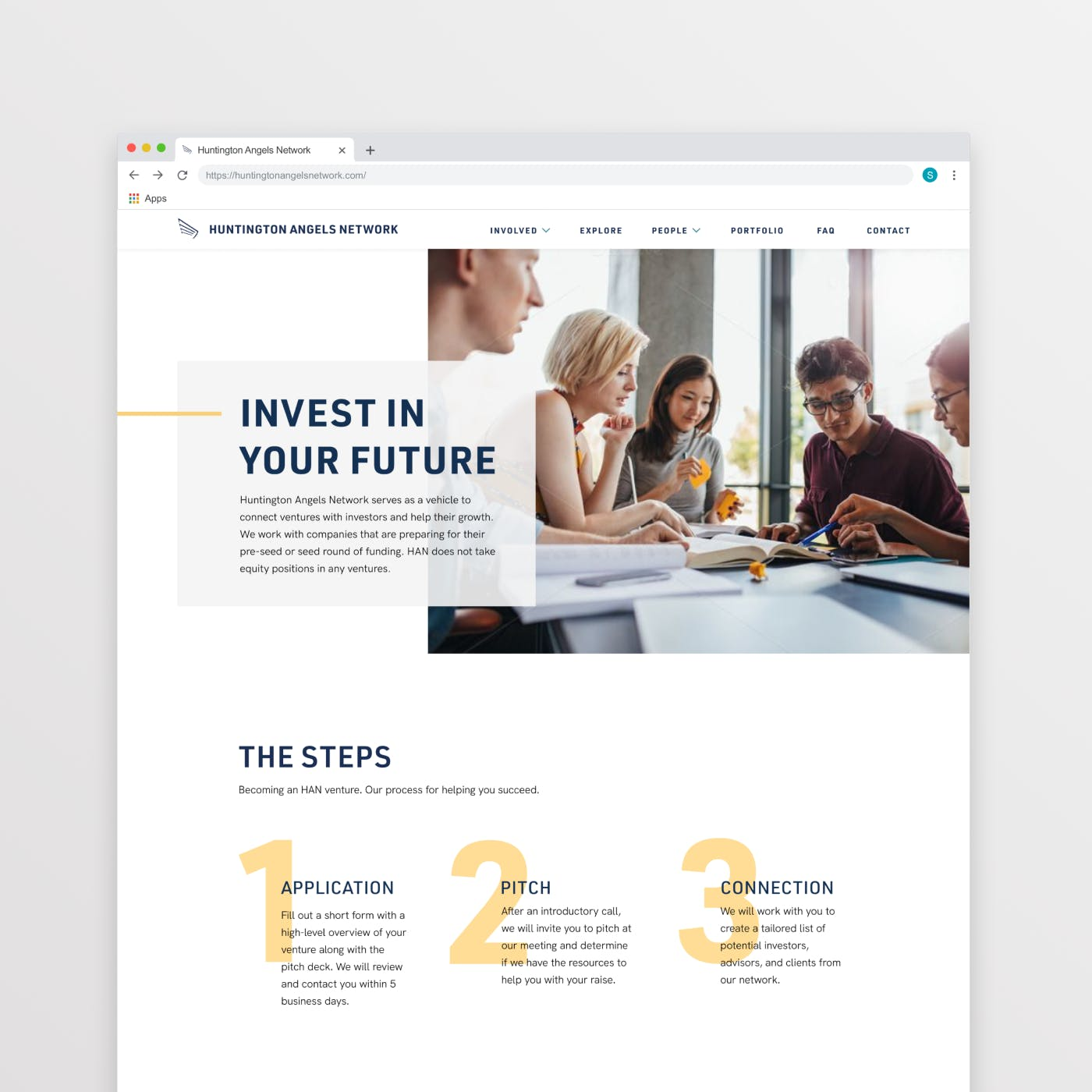 """A Google chrome screen mock up of """"a Ventures"""" page of the website. Depicting big image and bolded type in the header and three yellow numbers overlapped with supporting text underneath the header."""
