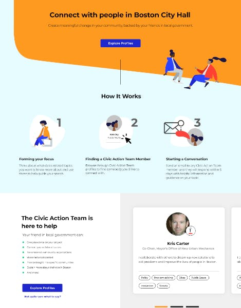 Student Action Portal homepage with illustrations of people, an explanation of how it works, and an example profile
