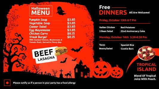 Halloween restaurant menu