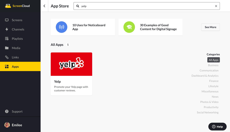 ScreenCloud Yelp app