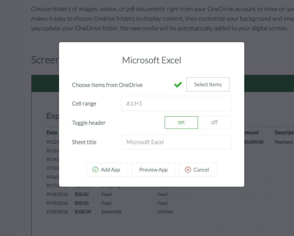 ScreenCloud Microsoft Excel App Guide - ScreenCloud