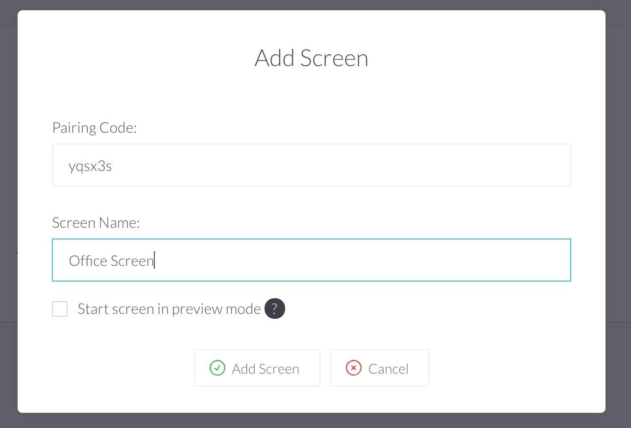 Add a screen