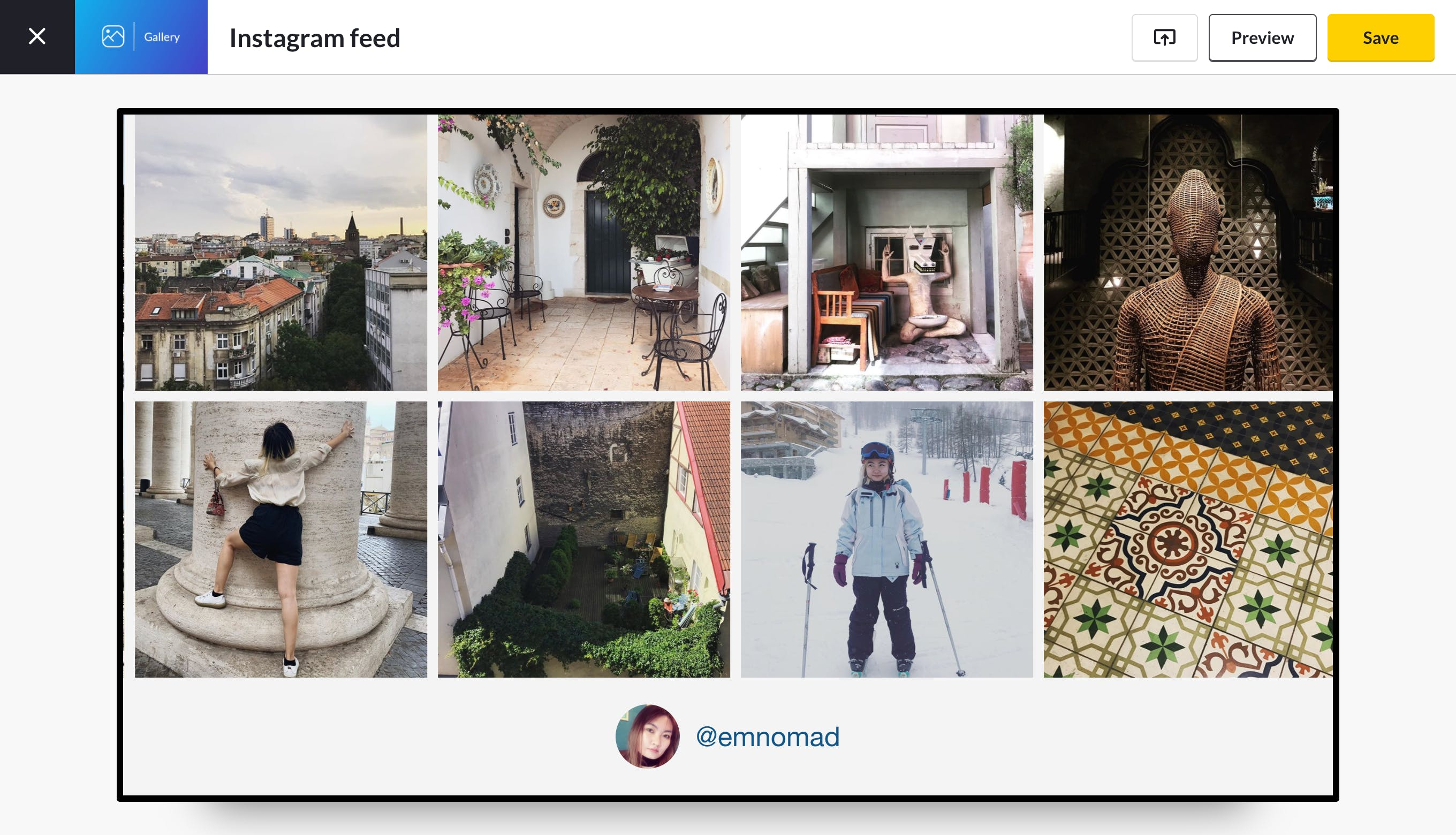 gallery for instagram preview
