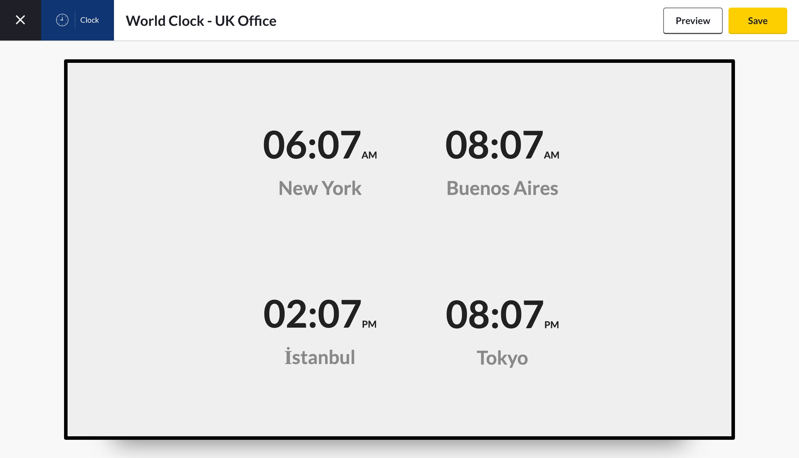 world clock app preview am/pm