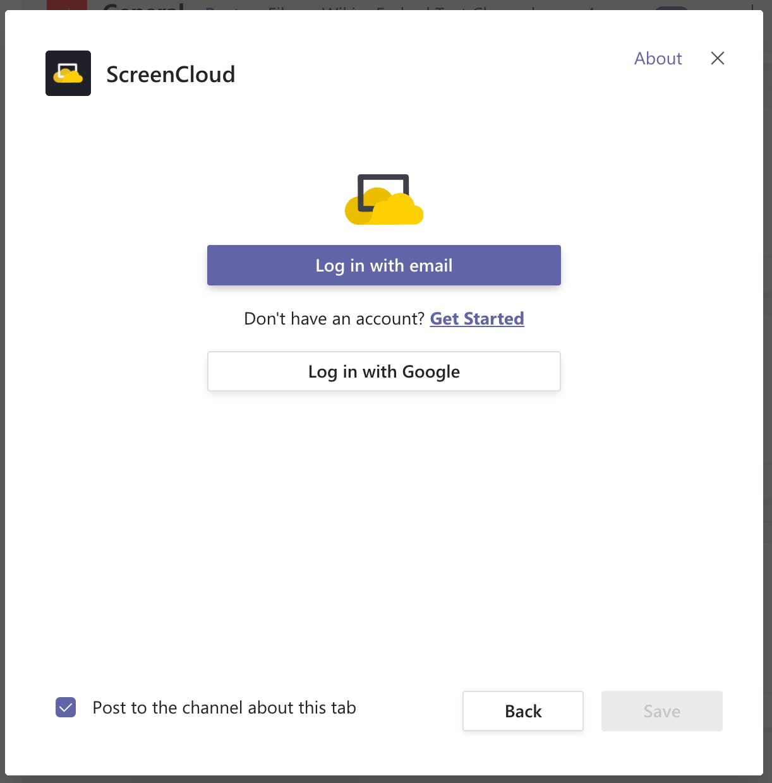 ScreenCloud App for Microsoft Teams - Log into ScreenCloud account 11.03.2020.png