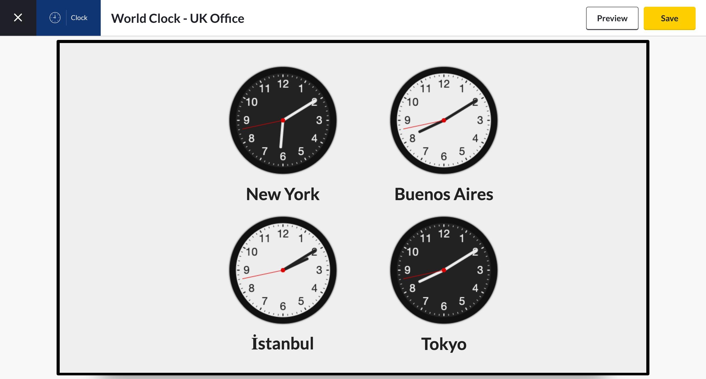 world clock app preview analog