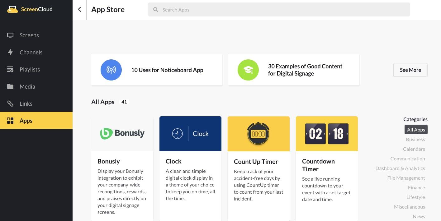 App Store in ScreenCloud