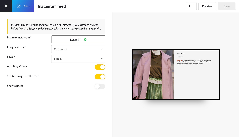 Gallery for Intsagram app settings