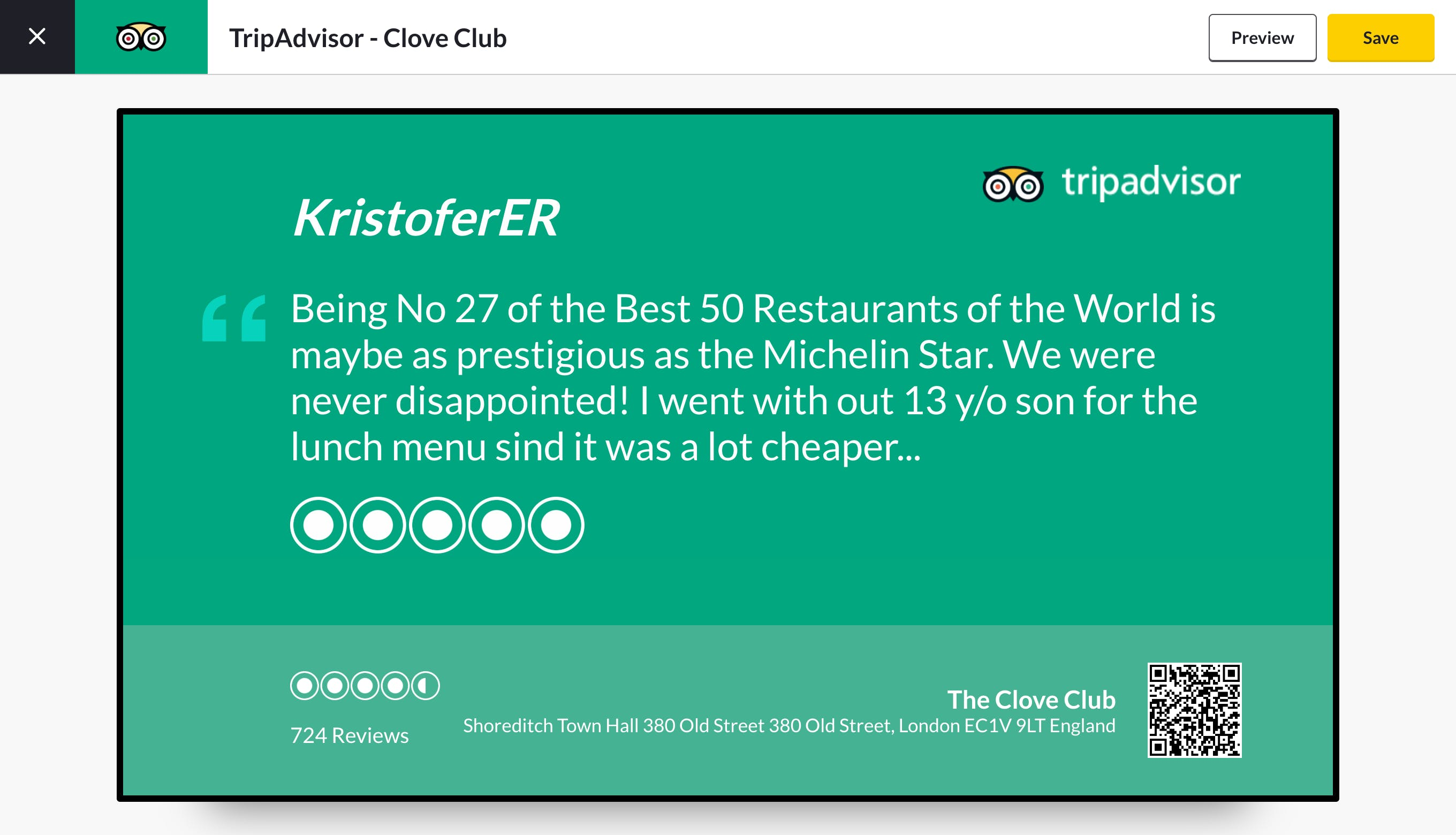 ScreenCloud TripAdvisor app preview