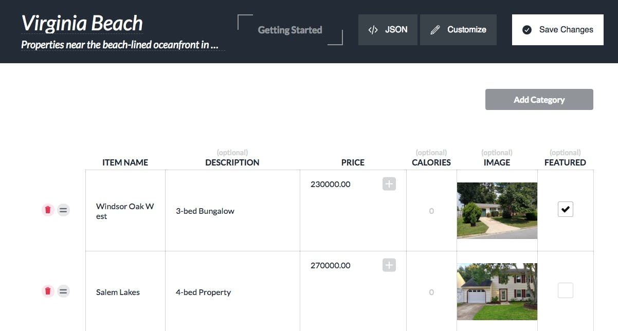 product categories for real estate