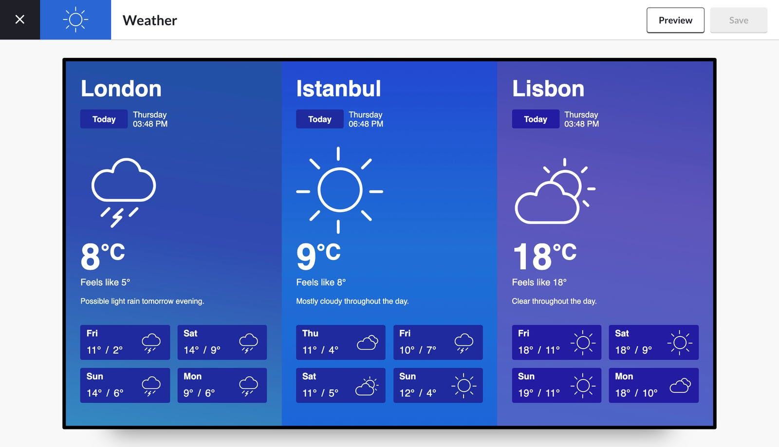 preview ScreenCloud Weather app