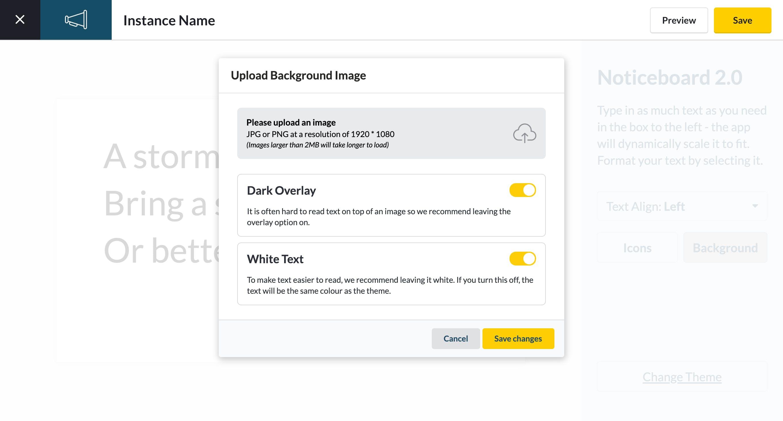 customize Noticeboard 2.0 app