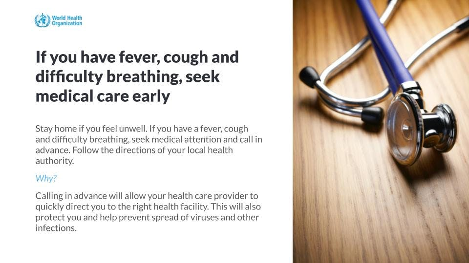 Hospital educational messaging on symptoms