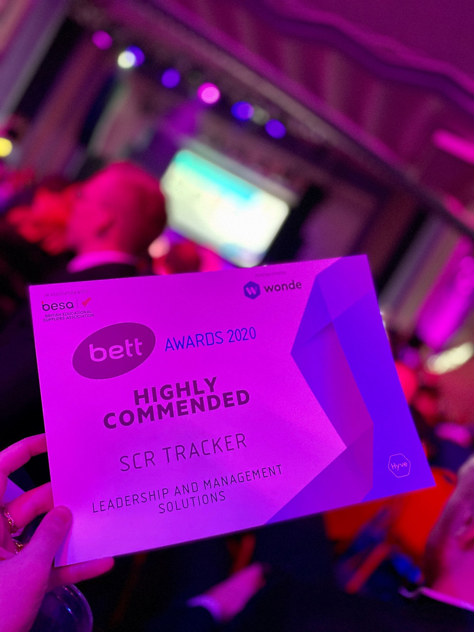 Photo by SCR Tracker team used for blog post on Bett Show awards 2020 Troxy London SCR Tracker wins highly commended in leadership and management solutions judges commented that SCR Tracker demonstrated an entrepreneurial approach, spotted an opportunity and created a solution which helps schools to fulfil their legal obligation in their core function of safeguarding young people