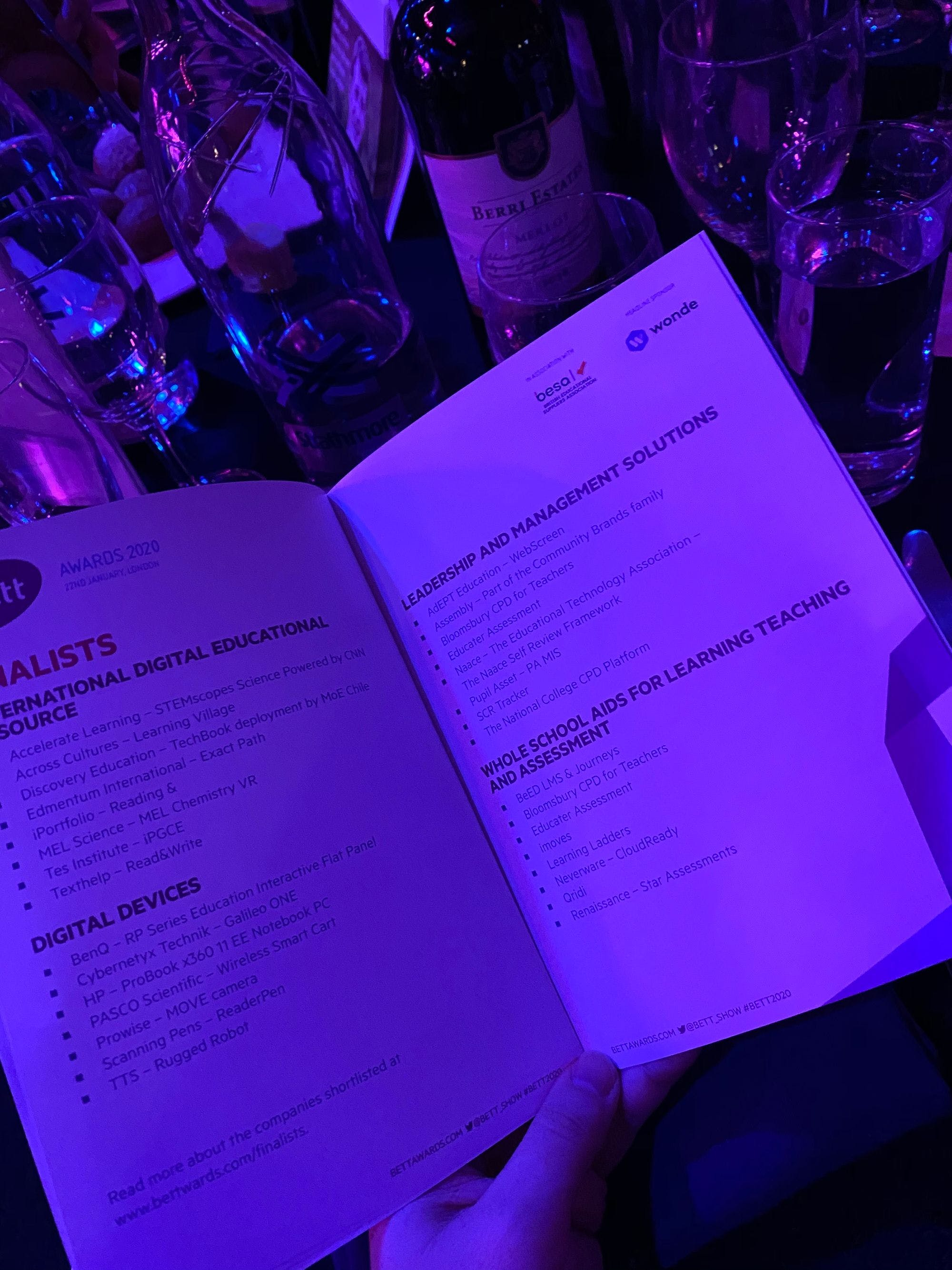 Bett Show Awards 2020 Troxy London menu finalists in leadership and management solutions single central register record online vetting checks appointment pre employment