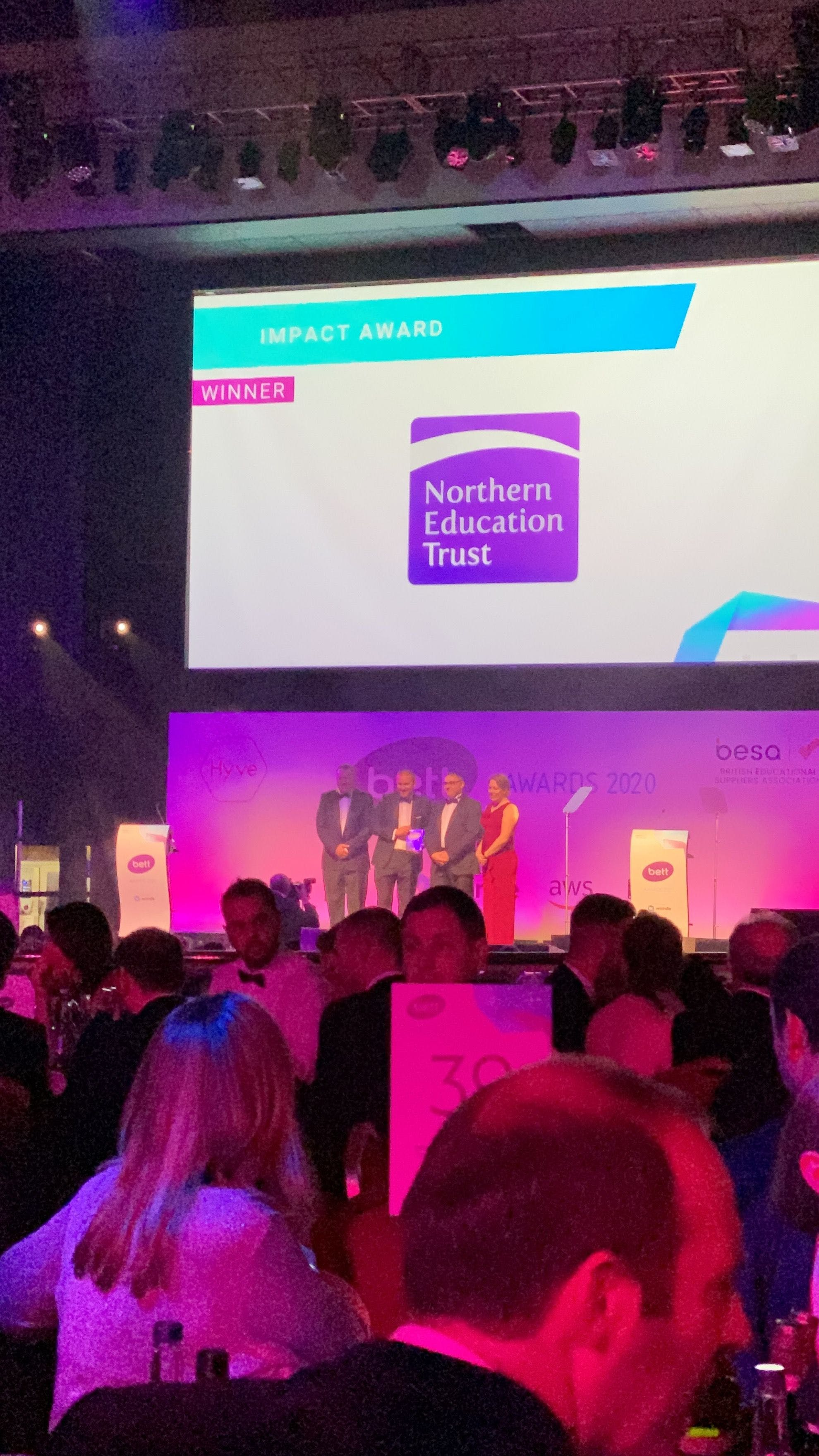 northern education trust wins impact award at bett show awards 2020 for their work with single central record tracker SCR register online software for vetting checks and best safeguarding practices in UK based trusts Bett finalists SCR Tracker wins highly commended for leadership and management solutions
