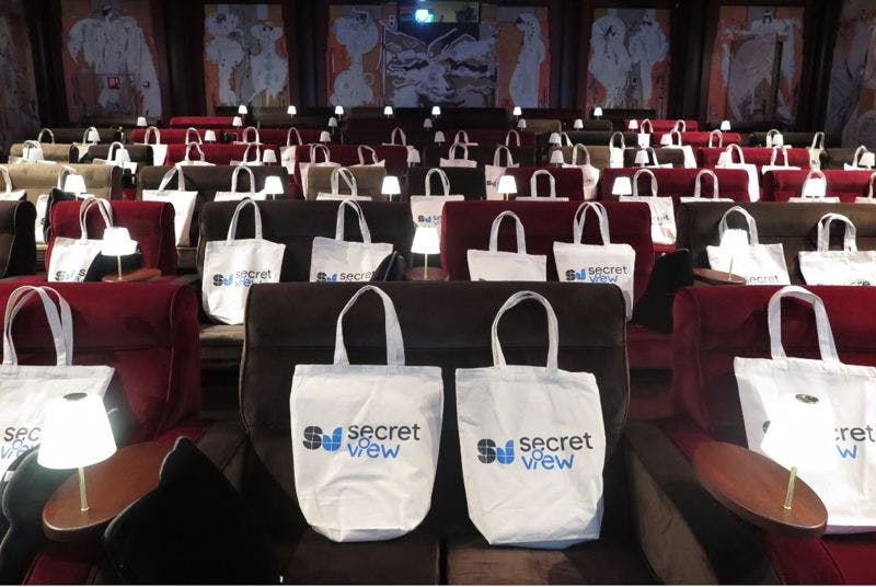Secret View bags on chairs in Pathé cinemas