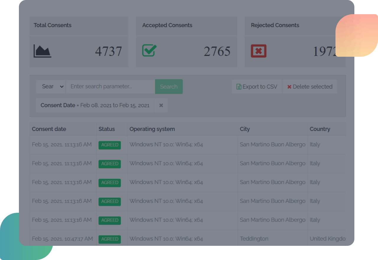 logs and consents dashboard secure privacy