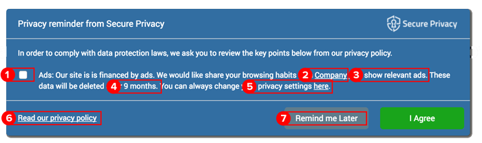 secure privacy banner example