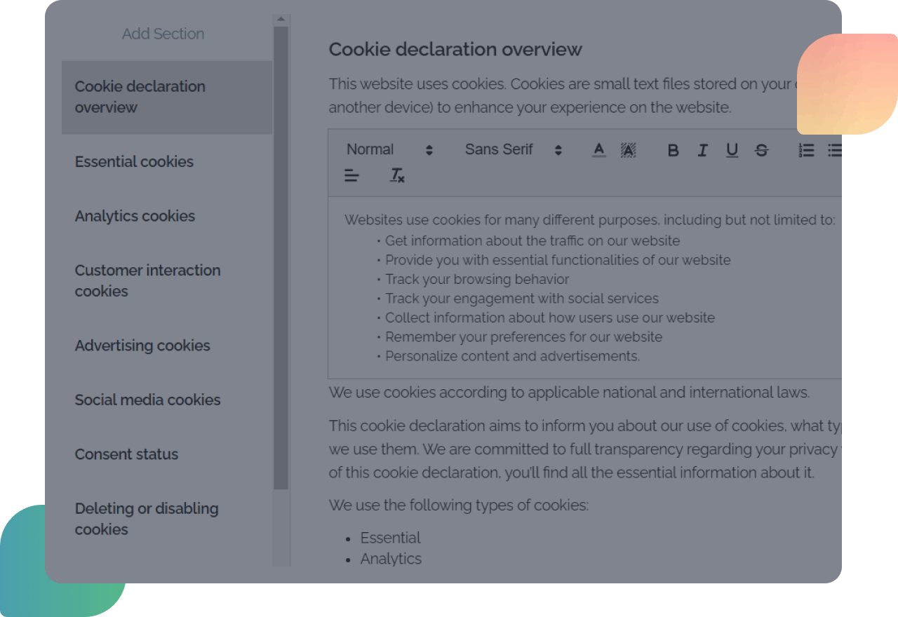 cookie privacy policy generator dashboard