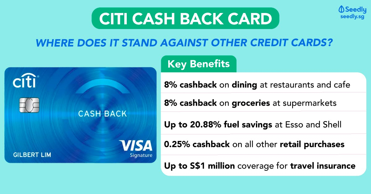 Citi Cash Back Card Benefits of 8% cashback on dining and groceries