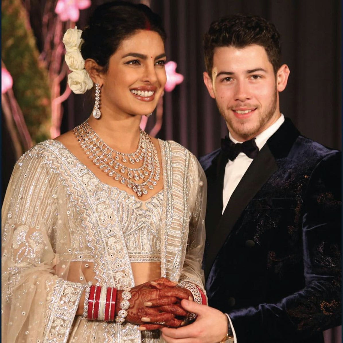 A regal necklace with pear shaped diamond solitaire drops; worn by Priyanka Chopra for her Delhi reception