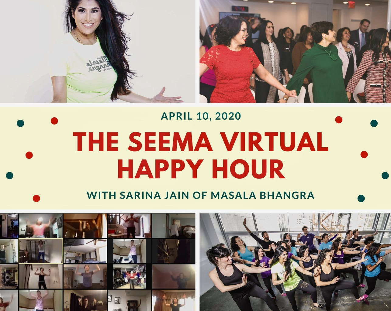 seema.com, seema network, seema virtual happy hour, seema social, Sarina Jain, Masala Bhangra, happy hour, stayathome, flattenthecurve, ball balls, South Asian fitness, Indian fitness, get moving with Sarina Jain and seema