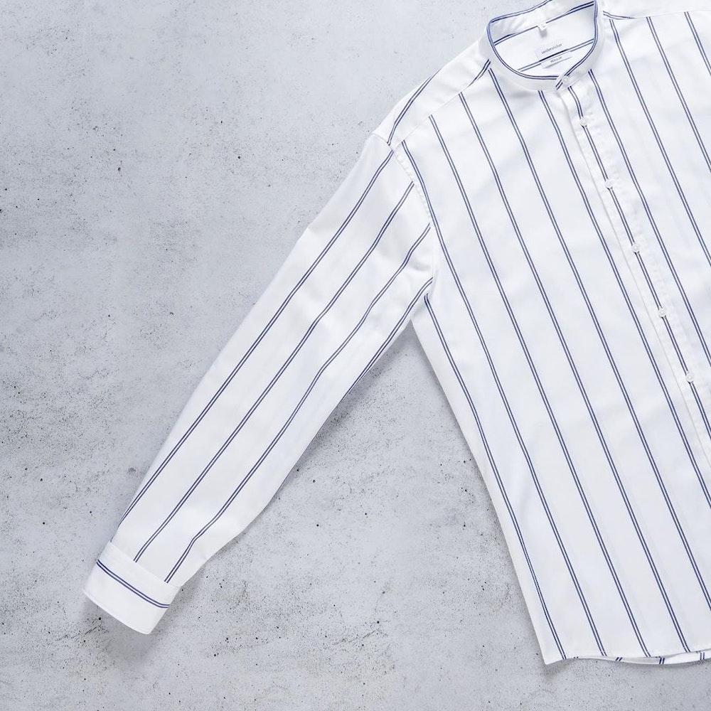 Easy-iron Twill Business Shirt in Slim with Stand-Up Collar   Seidensticker