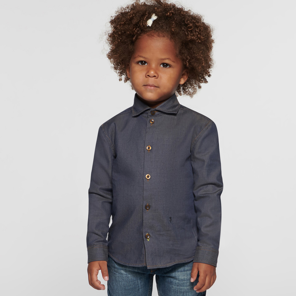 Denim Shirt for kids in blue with shark collar made of 100% cotton