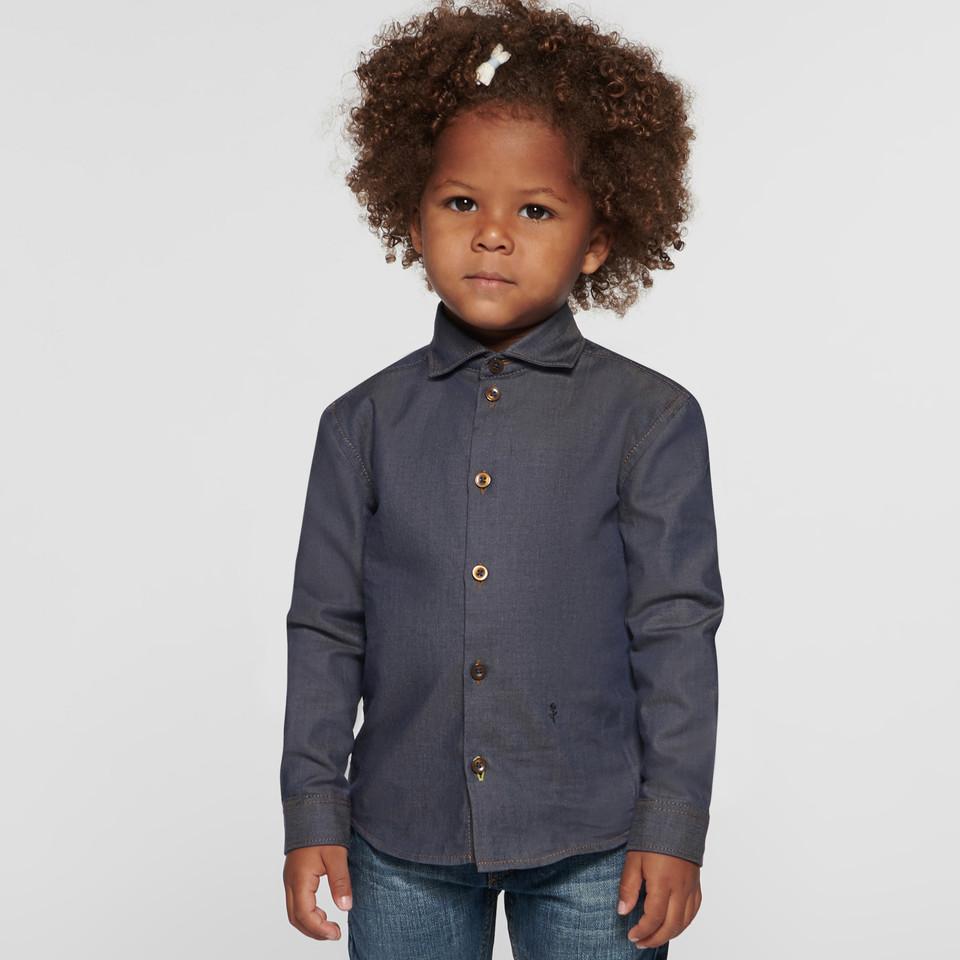 Denim Kinderhemd für Mädchen und Jungen mit Haifischkragen aus 100% Baumwolle