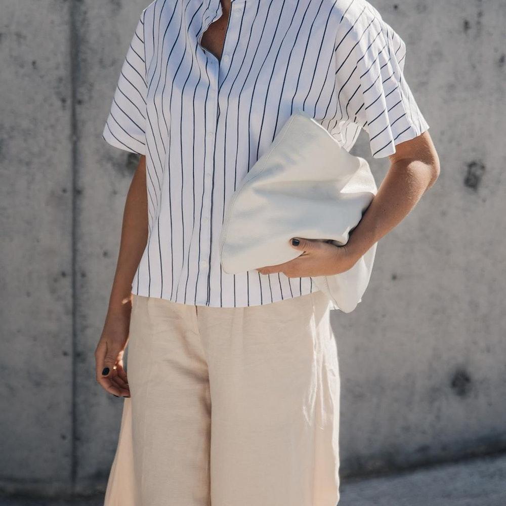 Kurzarm Popeline Hemdbluse aus Leinenmischung | Seidensticker