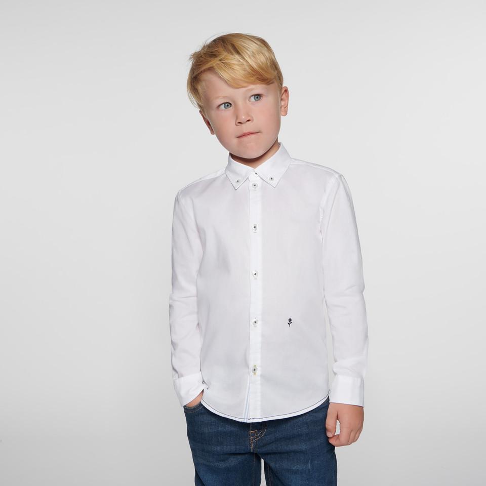 Kinderhemd für Mädchen und Jungen in weiß mit Button-Down-Kragen aus 100% Baumwolle
