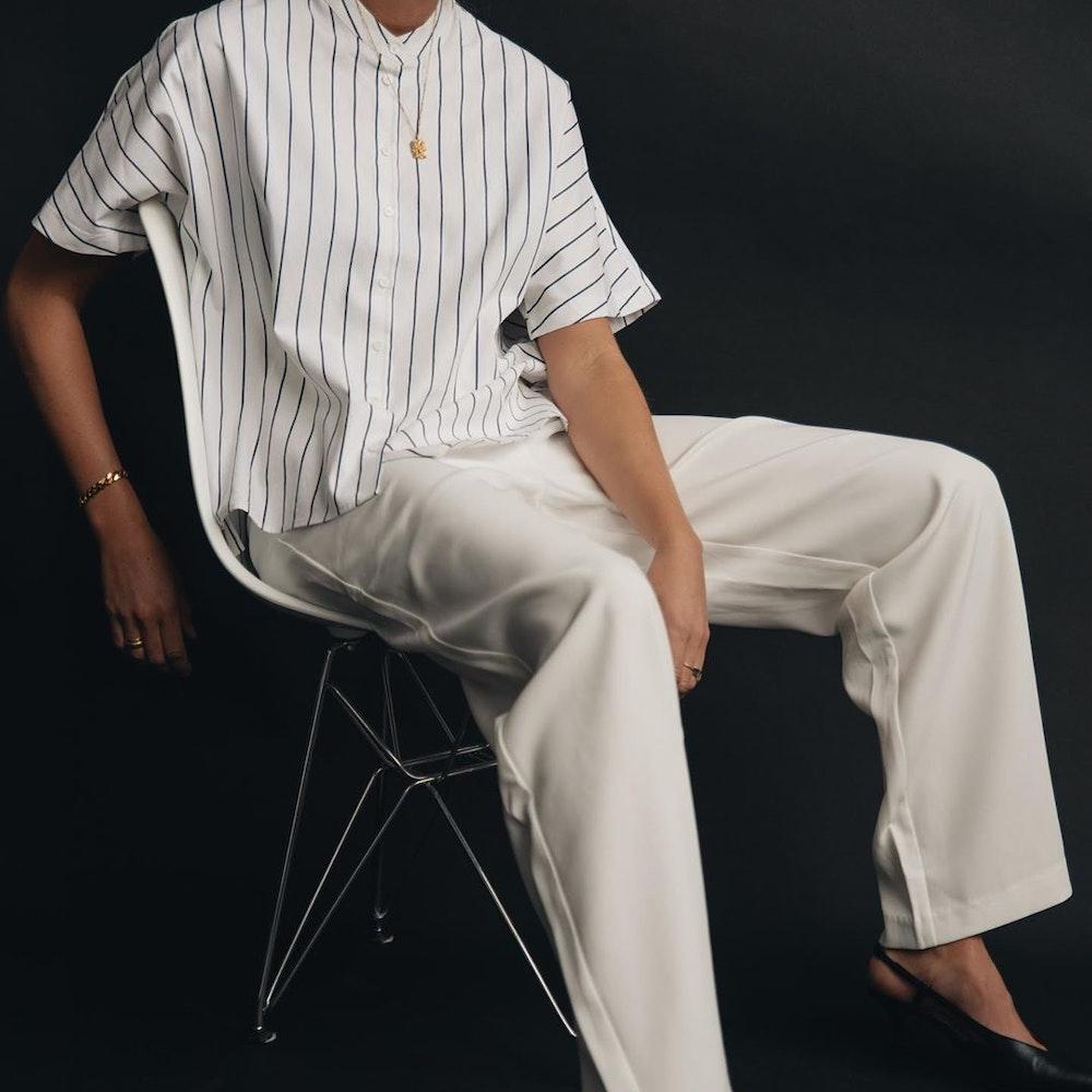 Short sleeve Poplin Shirt Blouse made of linen blend | Seidensticker